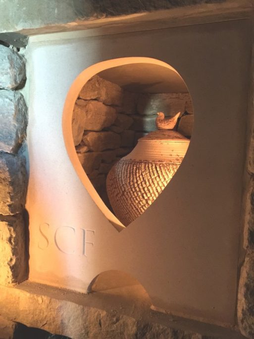 Heart cut in stone at willow row barrow cremation niche