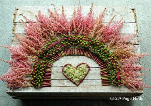 Pink flowers surrounding pink and green seeds around a handmade heart