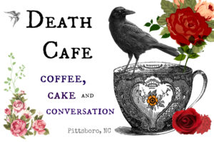 Poster from a death cafe where people are discussing death