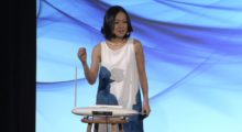 Yoko Sen presents her sound research at a conference