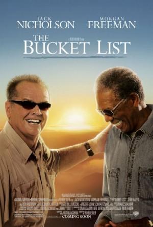 "Movie poster of ""The Bucket List"" starring Jack Nicholson and Morgan Freeman"