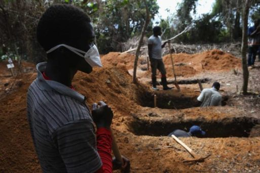 View of a Liberian gravesite during the Ebola outbreak