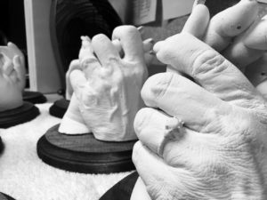 Hands of the dying plaster casts