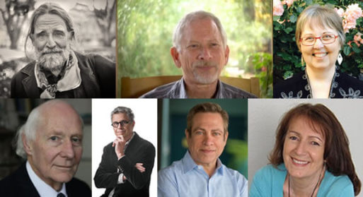 Photo collage of art of dying conference speakers