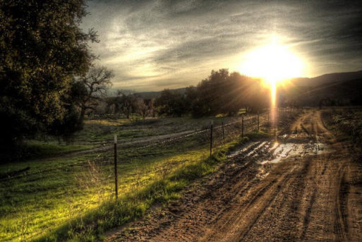 A dirt road with the sun rising in the background
