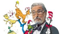 Dr. Seuss surrounded by his characters
