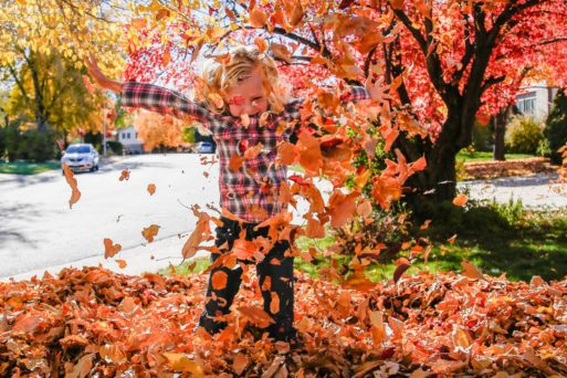 Child in Fall leaves symbolize change and dying