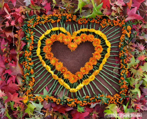 Handmade hearts in fall colors