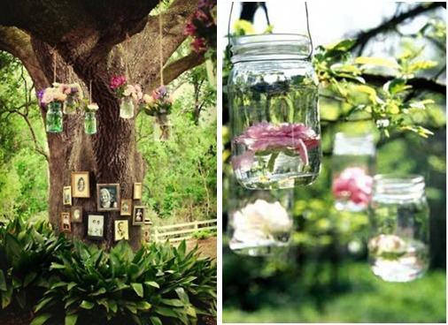 memorial tree with mason jars and flowers