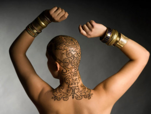 Woman with cancer with a henna crown