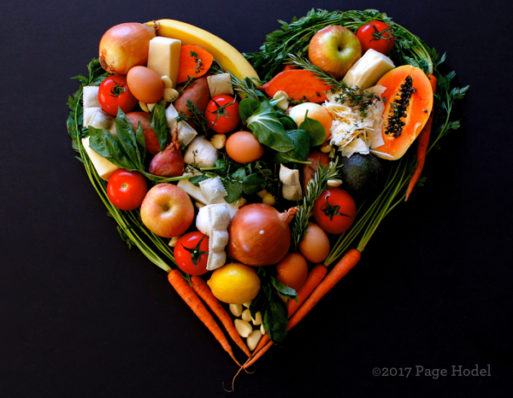 A handmade heart made of fruits and vegetables
