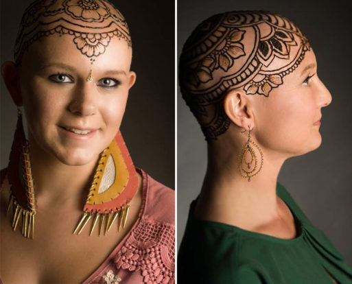 Woman with cancer and a henna crown