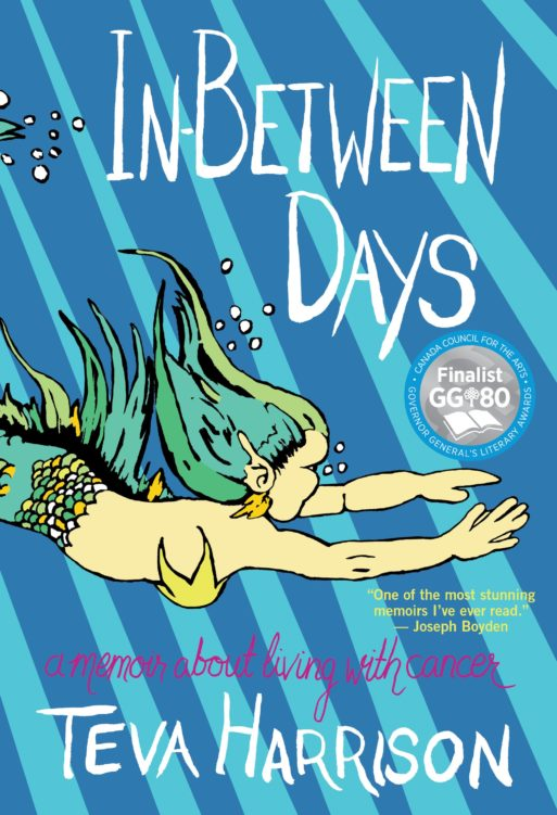 "The book cover for ""In-Between Days,"" featuring an illustration of a green mermaid swimming in water"
