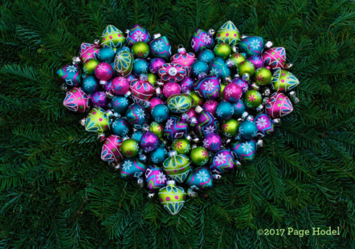 Handmade heart of Christmas bulbs