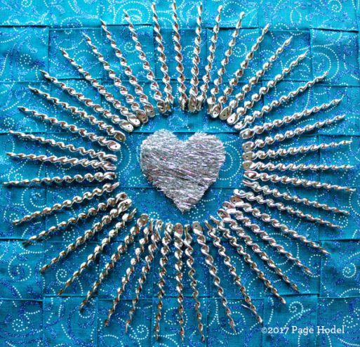 Handmade heart in silver and blue