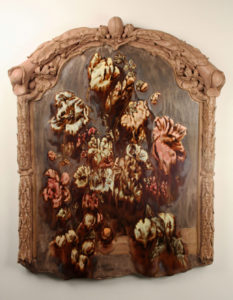 A still life vanitas, featuring a painting of decaying flowers that look like they are melting
