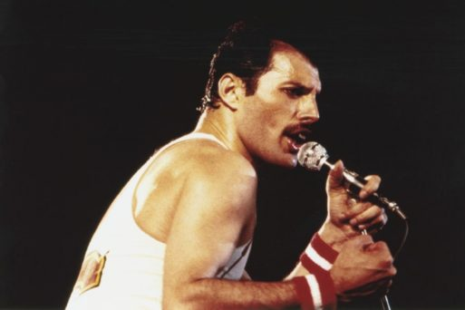 """Freddy Mercury performing """"We Are the Champions"""""""